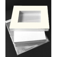 Market kit   10 sets of A3 windowed Olde White Mats offset to fit 16x20""
